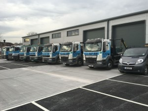 Fleet of AYS Skip Hire Trucks